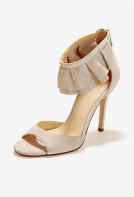 Ruffled Ankle Strap Heel