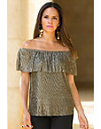 Gold Metallic Knit Top Photo