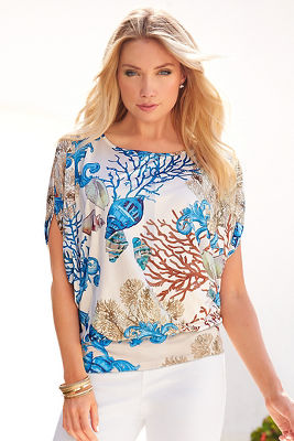 Sea life blues blouson top