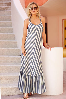Stripe braided back maxi dress