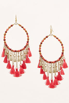 Bright beaded tassel earrings