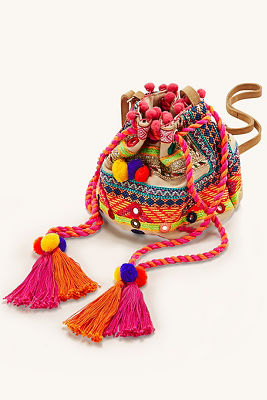 Bright embroidered pom-pom bag