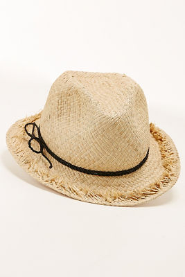 Frayed straw fedora