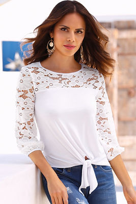Lace inset tie-front top