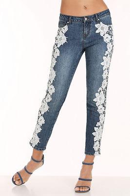 White lace applique jean