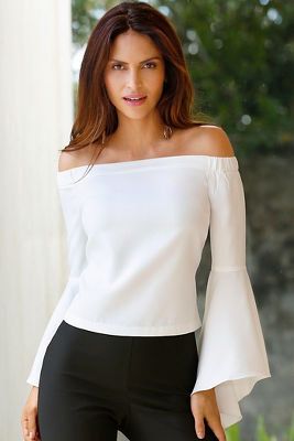 Off-the-shoulder drama sleeve blouse