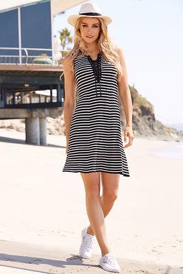 Stripe lace-up dress