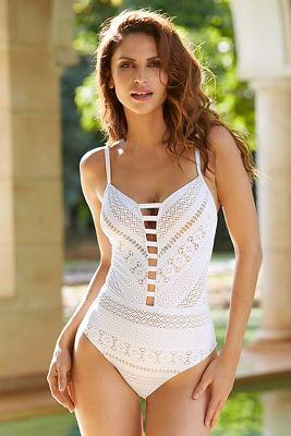 Dramatic lace one-piece swimsuit