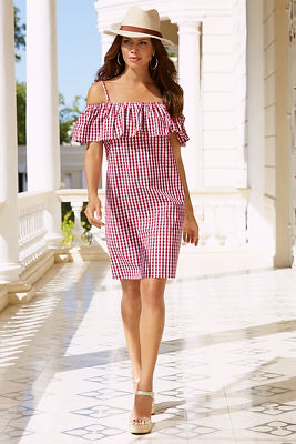 Gingham ruffle off-the-shoulder dress