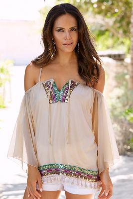 Sheer luxe embellished cold-shoulder top