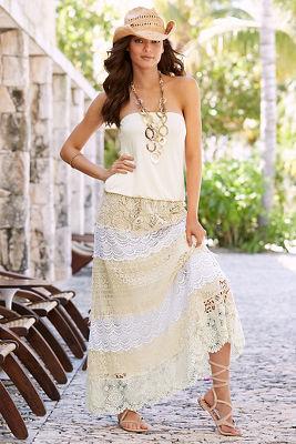 Crochet tiered maxi skirt