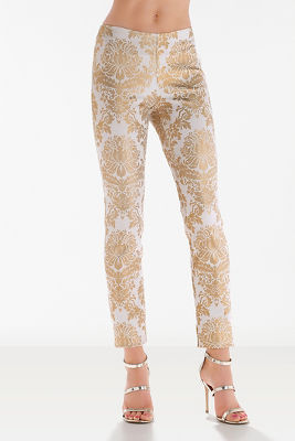 Gold scroll print side zip pant