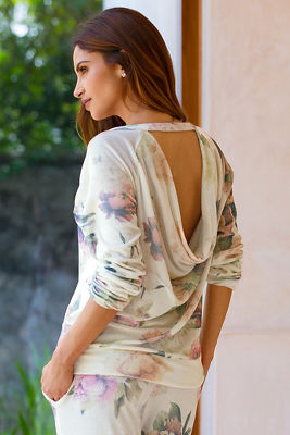 Floral draped sweatshirt
