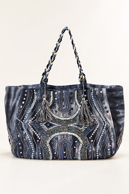 Embellished denim tie dye bag