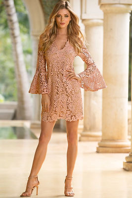 LACE V FLARE SLEEVE DRESS