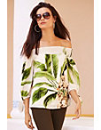 Off The Shoulder Palm Print Blouse Photo