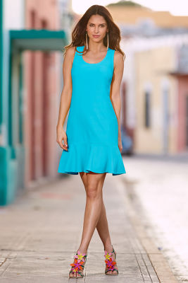 travel scoop neck flutter dress