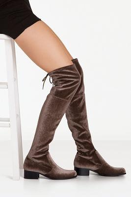 Velvet over-the-knee flat boot