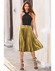 Metallic Pleated Midi Skirt Photo