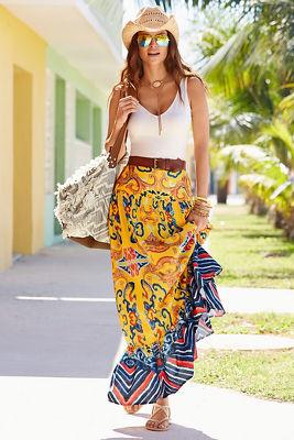 Ruffle hem printed maxi skirt