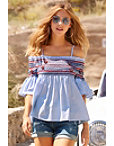 Off-the-shoulder Smocked Striped Top Photo