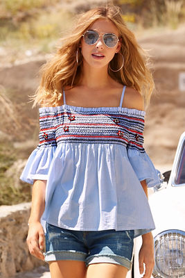 Off-the-shoulder smocked striped top