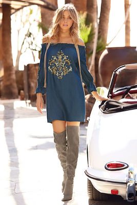 Denim embellished off-the-shoulder dress