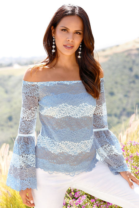 Shades of blue lace top image