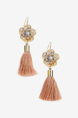 Flower tassel earrings