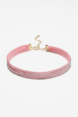 Four strand embellished choker necklace