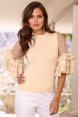 Ruffle illusion sleeve sweater