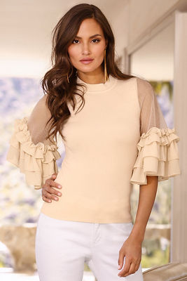 Ruffle illusion sleeve sweater