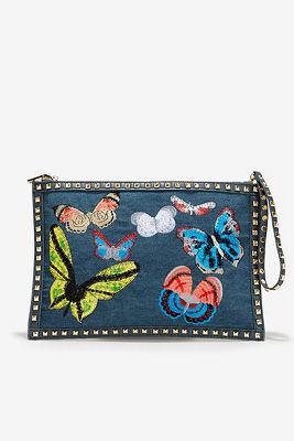 Butterfly denim handbag