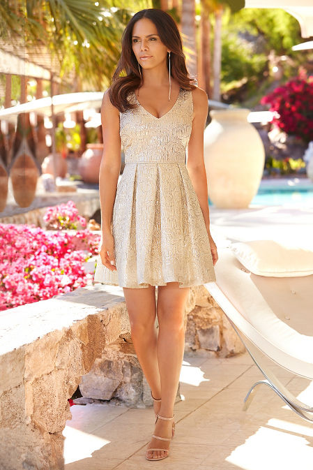 Brocade fit-and-flare dress image