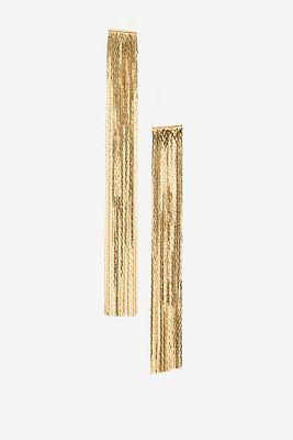 Long gold fringe earrings