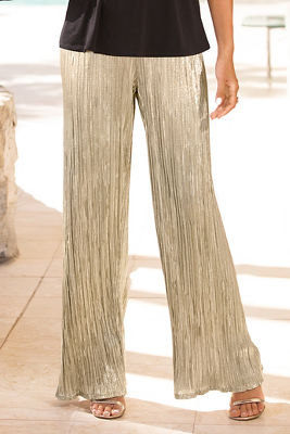 Metallic pleated pant