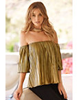 Off-the-shoulder Pleated Metallic Top Photo