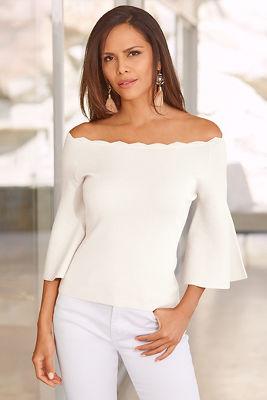 Bell sleeve neckline sweater