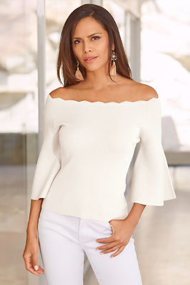 Bell sleeve neckline sweater