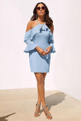 Ruffle cold-shoulder dress