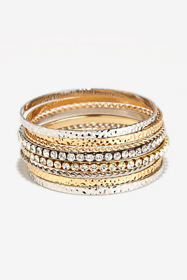 Mixed metal bangle set