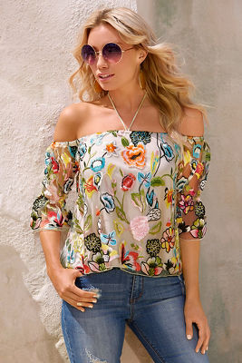 Floral vine embroidered top