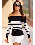 Off-the-shoulder Striped Metallic Sweater Photo