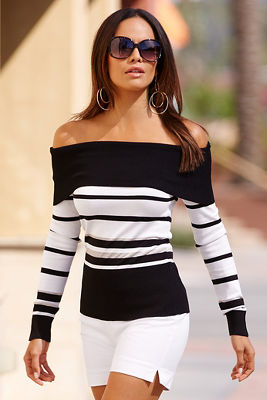 Off-the-shoulder striped metallic sweater