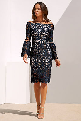 Lace tie-neck dress