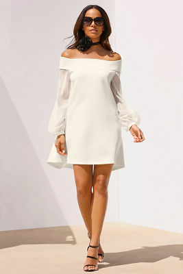 Illusion off-the-shoulder dress