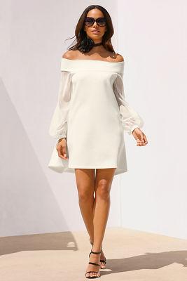 Illusion off-the-shoulder dress