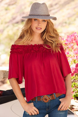 Ruffle off-the-shoulder short sleeve top