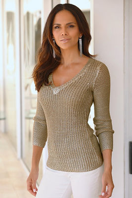 Metallic textured sweater