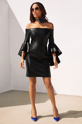 Off-the-shoulder vegan leather dress